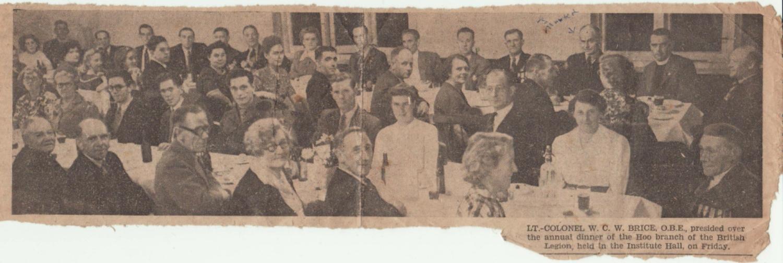 Newspaper cutting British L, Dinner