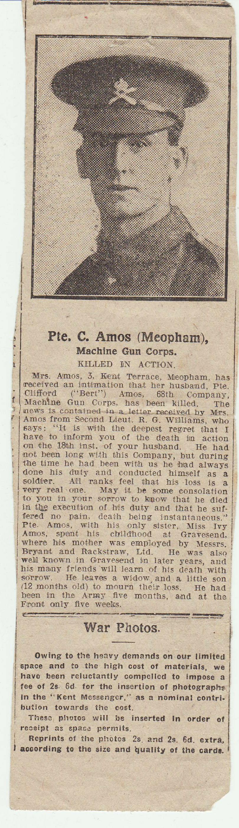 Newspaper cutting obituary Clifford