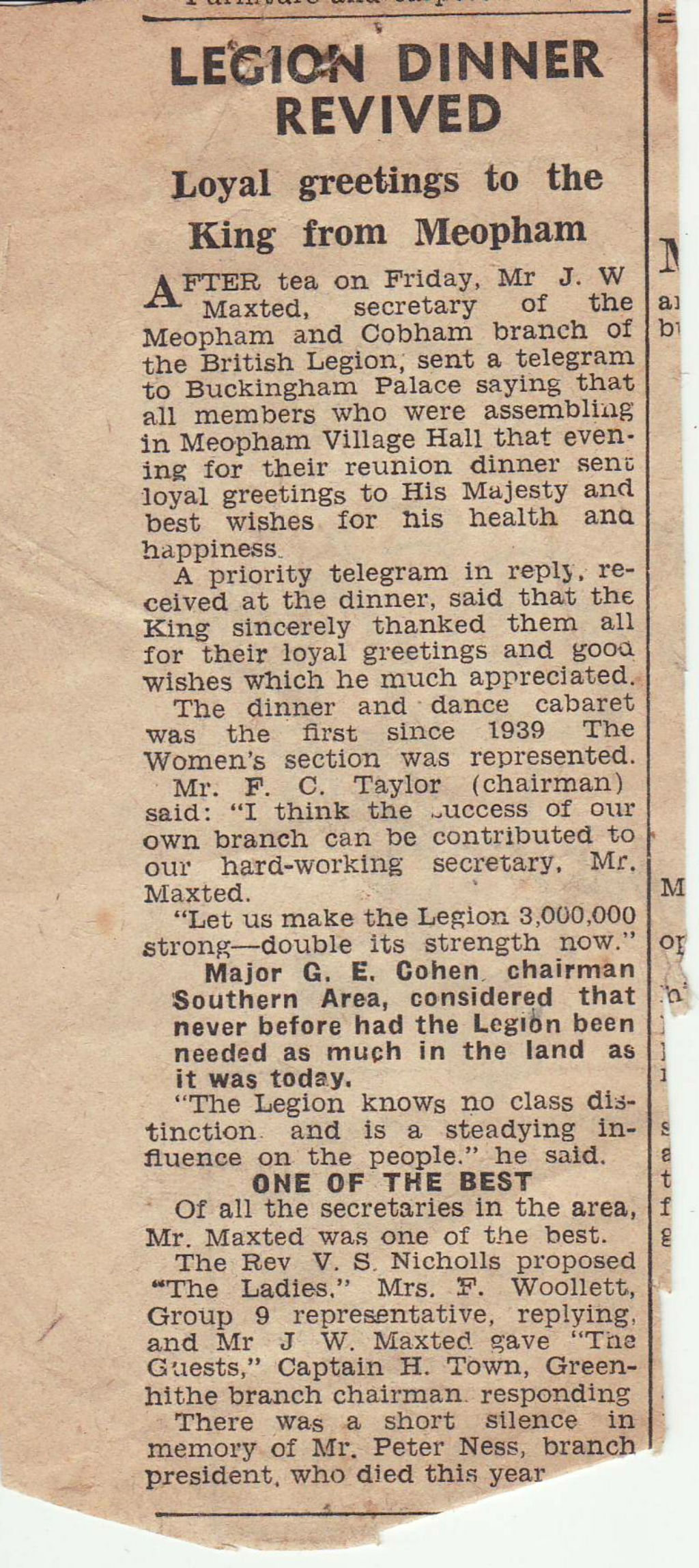 Newspaper cutting British Legion din