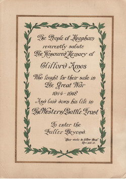 Memorial certificate for Clifford Am