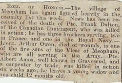 Newspaper cutting death announcement