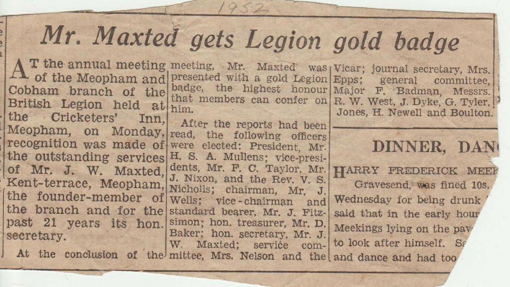 Newspaper cutting 1952 re British Le