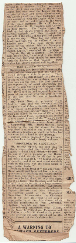 Newspaper cutting re dinner British