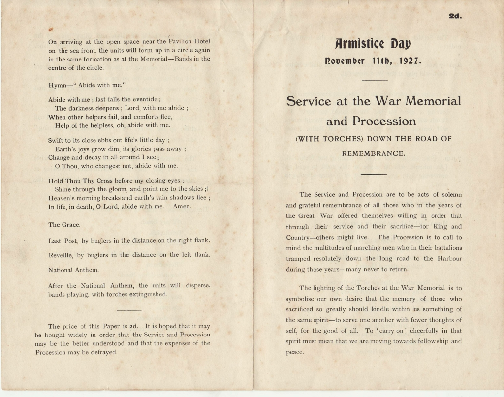 Programme for Armistice Day 11.11.19