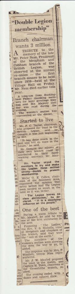 Newspaper cutting British Legion Mem