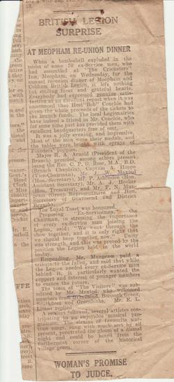Newspaper cutting Meopham British