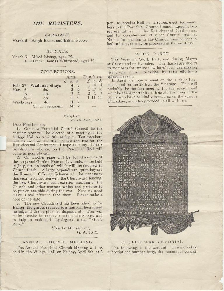 Meopham Church Magazine 1921