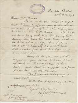 Letter to Mrs Amos telling of her hu