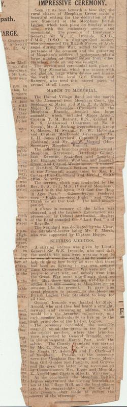 Newspaper cutting British Legion imp