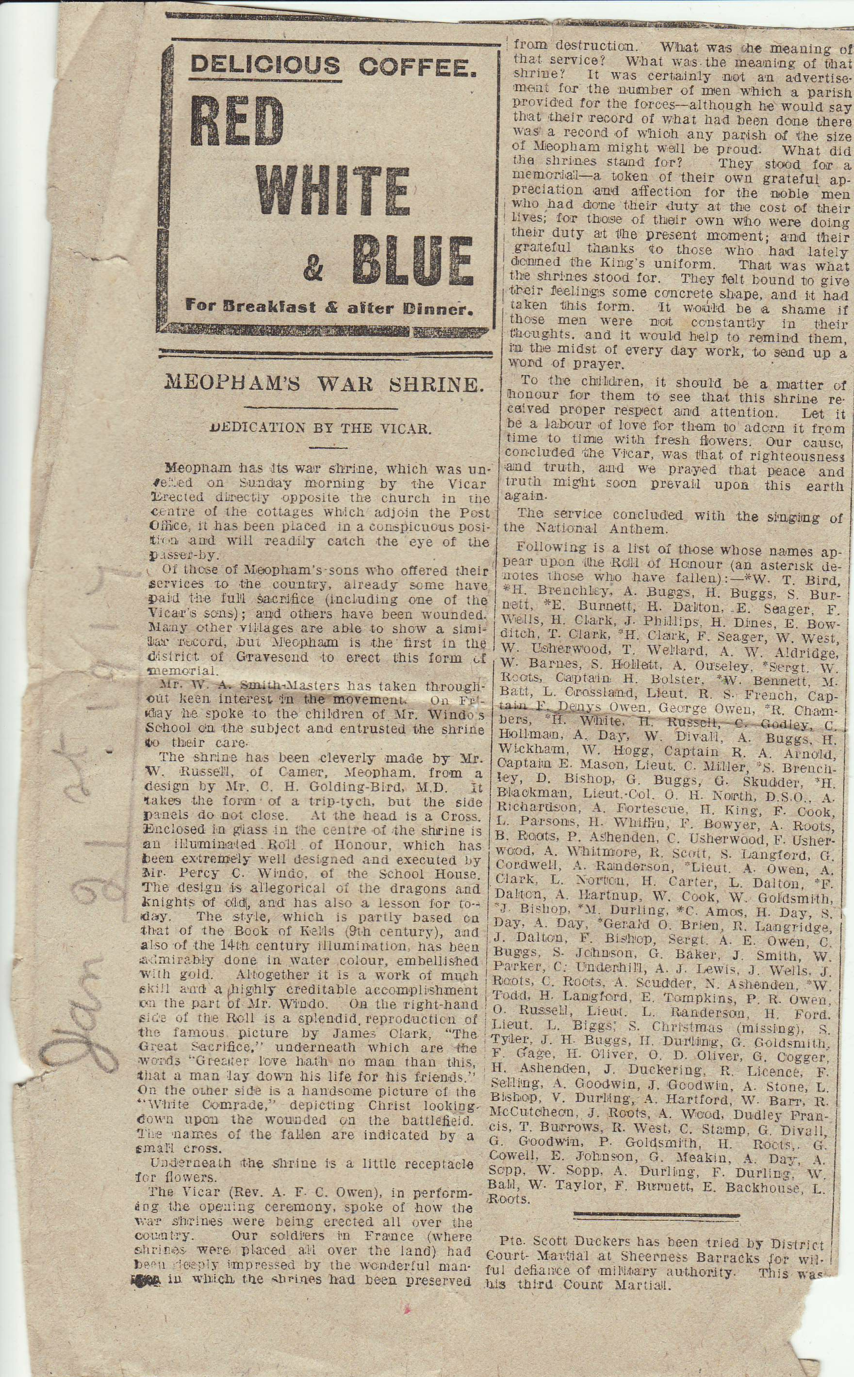 Newspaper article about a war shrine
