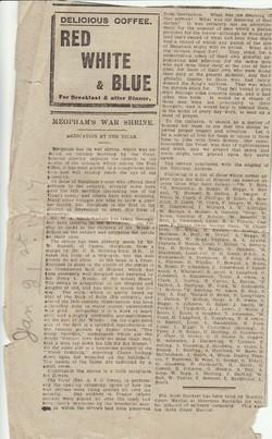 Newspaper article about a war shrine