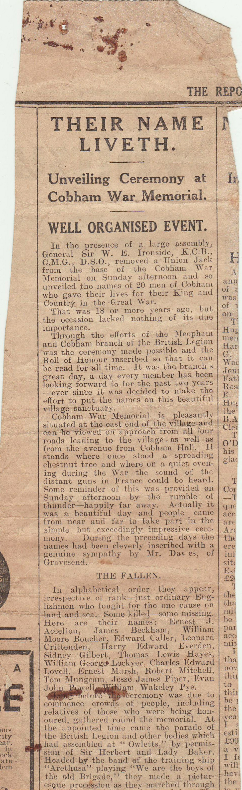 Newspaper cutting British Legion Unv