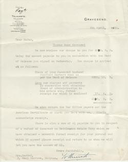 Letter from Tolhursts, solicitors