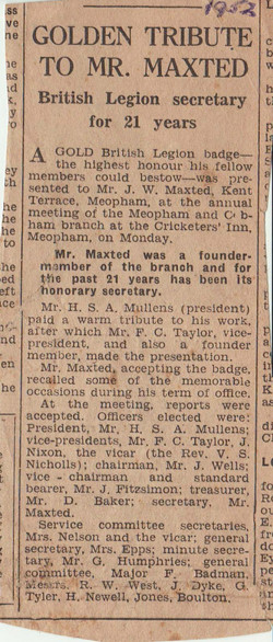 Newspaper cutting 1952 BritishLegion