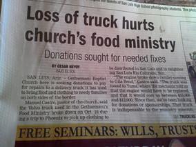 Seguimos orando por un nuevo truck