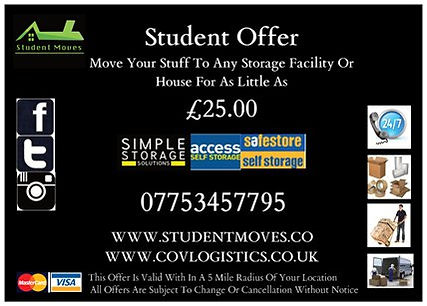Student Offer | Student Moving Services | Student Moves | Van Hire | Man And Van | Removals | Coventry