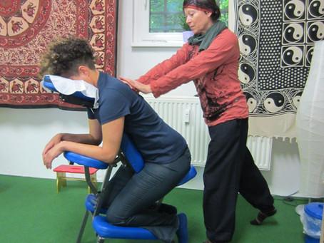 Carola Seidl massages Shaleah Dancy