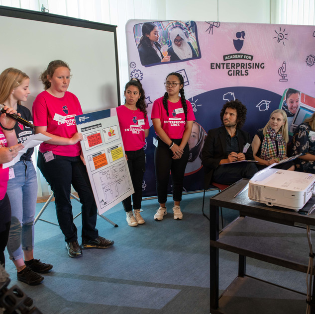 Girls from Queanbeyan High pitch their business idea to the judges