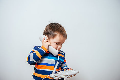 phone on the wire. child speaks on the p