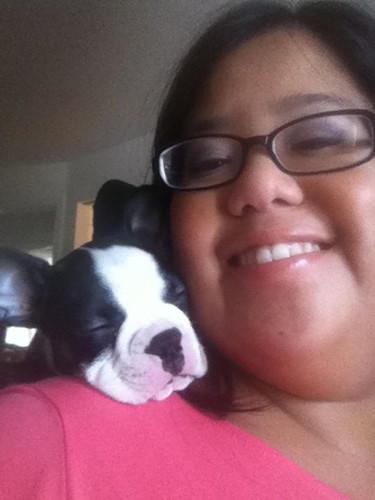 Me and Bandito (aka Shoulder Dog) relaxi