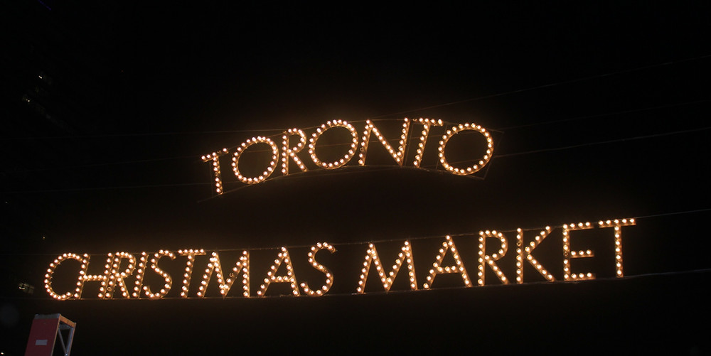 Toronto Christmas Market sign at the Distillery District