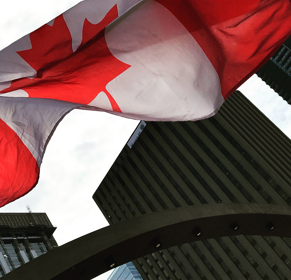 Canada flag at the Toronto Raptors Championship Rally