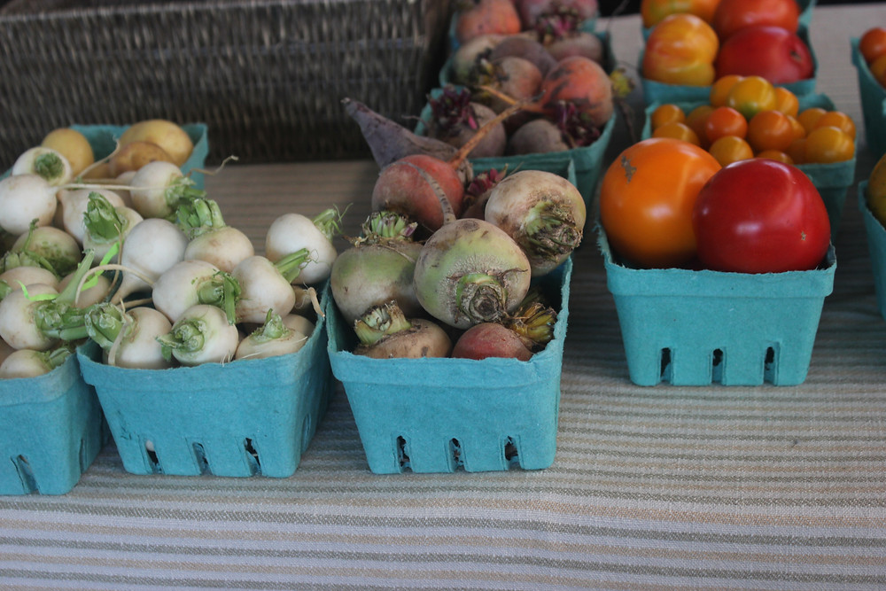 Fresh produce at the Saturday Farmers Market at Evergreen Brickworks in Toronto