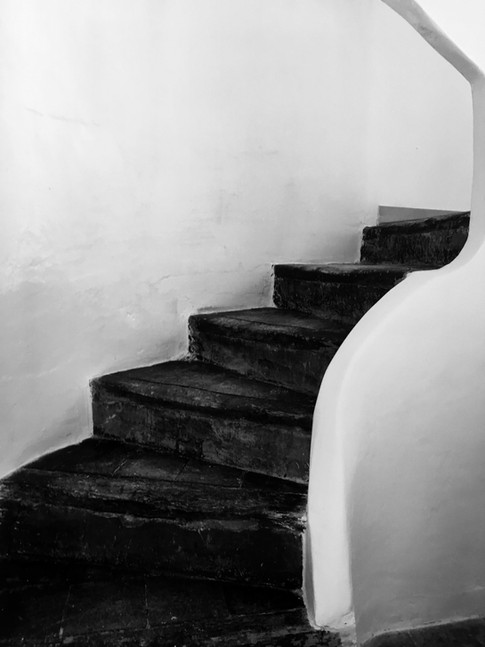 Stairway to old apartments