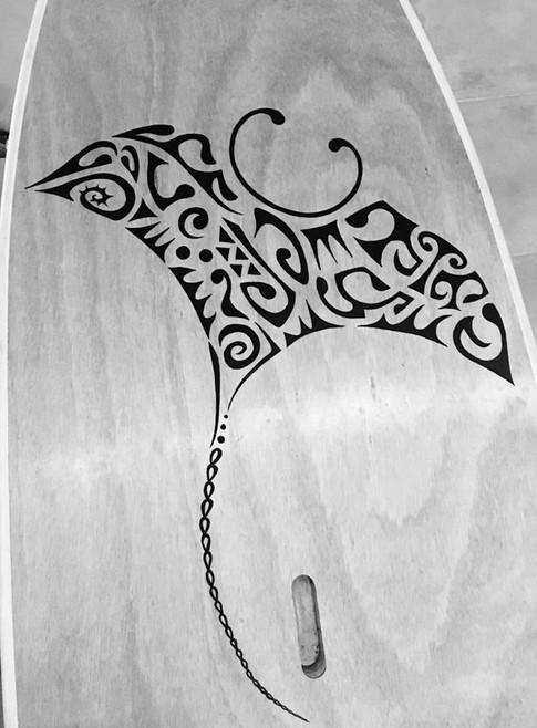 Handmade design on wood paddle boards