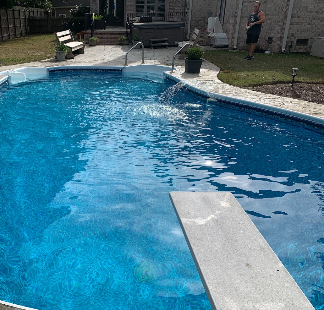 Crystal Blue Pool with Water Feature