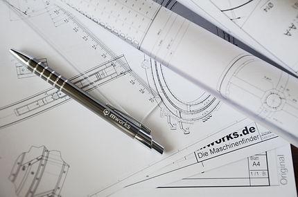 Konstruktionszeichnungen einer Sondermaschine