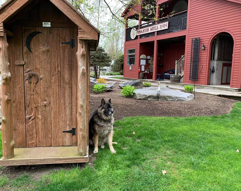 Shelby Outside the Shaker Mill Inn