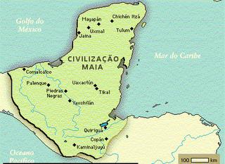 Mapa da civilização Maia com seus principais centros.