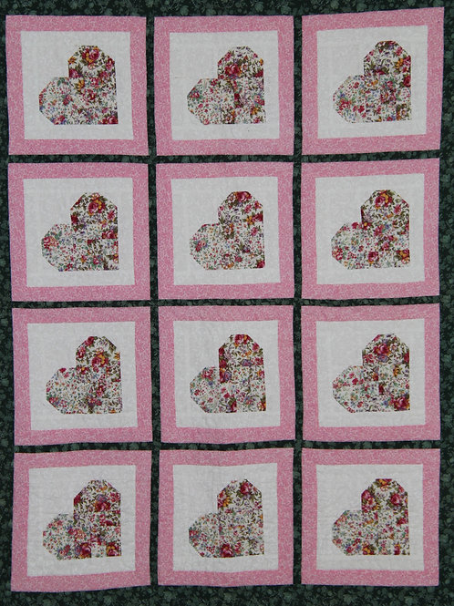 Baby Quilt Woven Hearts