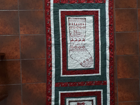 Home for Christmas Table Runner with Snowflake Embroidery
