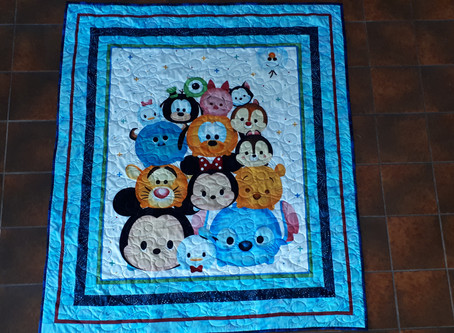 Baby Memory Quilt with digitized hand and foot prints.