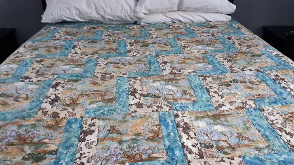 FreeMotion Quilted, Joyquilts Original Pattern Northcott Asian Theme fabric