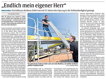 Zeitungsartikel Andreas Zolle Gerüstbau I AZ Gerüstbau