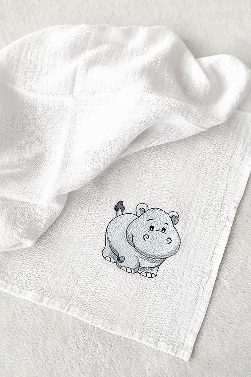 Hímzett textilpelenka - Víziló