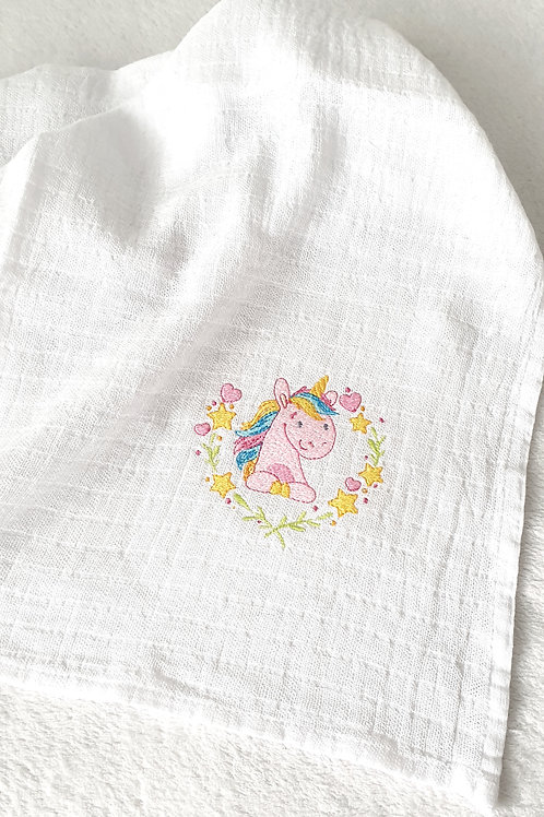 Hímzett textilpelenka - Rózsaszín egyszarvú