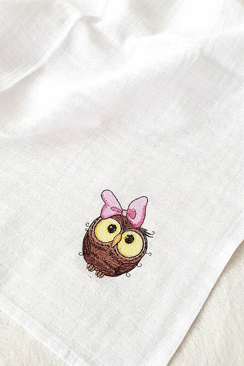 Hímzett textilpelenka - Bagoly lány