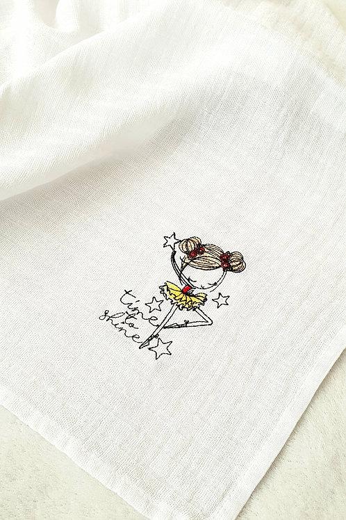 Hímzett textilpelenka - Time to shine