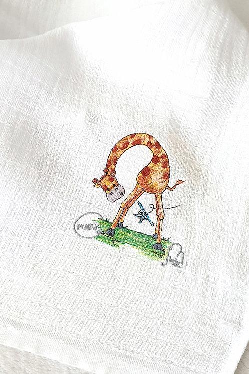 Hímzett textilpelenka - m'ARTás zsiráf repülővel
