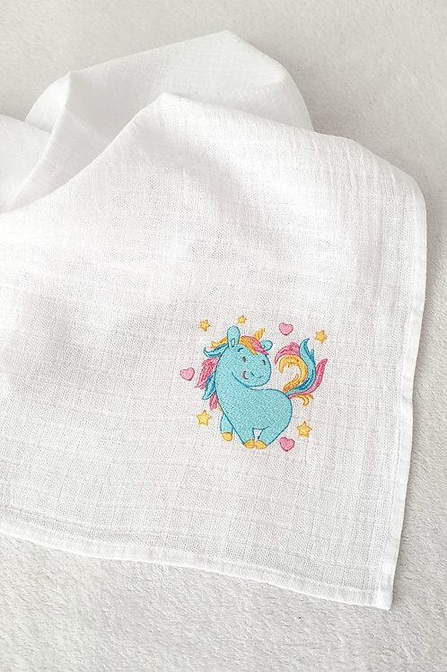Hímzett textilpelenka - Kék egyszarvú