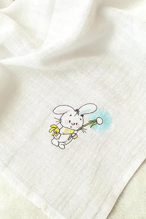 Hímzett textilpelenka - Nyuszi pitypanggal