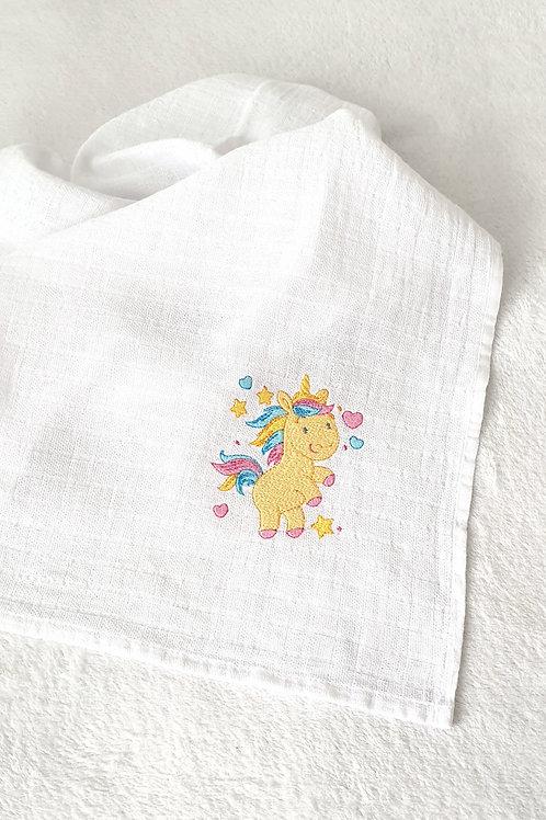 Hímzett textilpelenka - Sárga egyszarvú