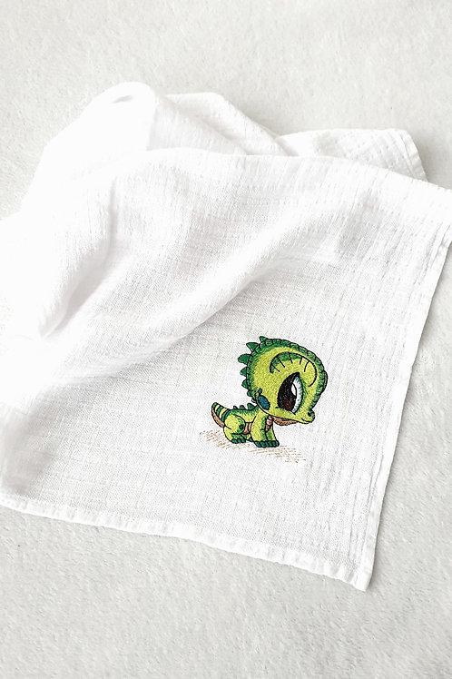 Hímzett textilpelenka - Bébi sárkány (zöld)