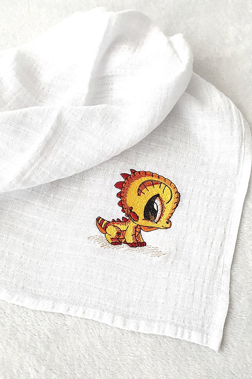Hímzett textilpelenka - Bébi sárkány (sárga-piros)