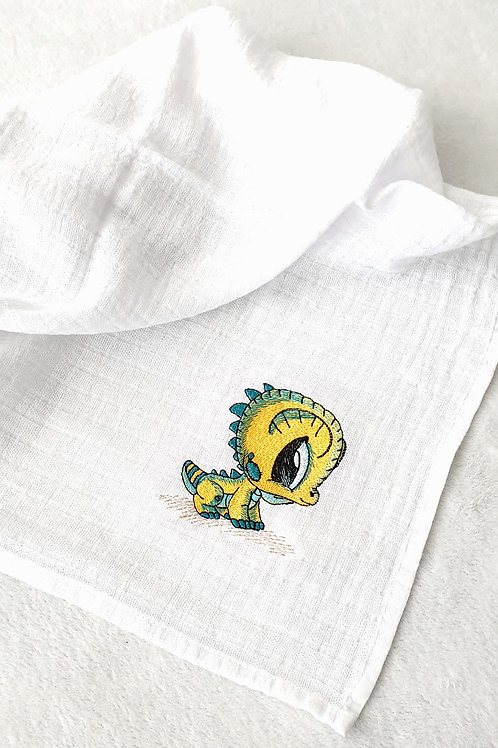 Hímzett textilpelenka - Bébi sárkány (sárga-kék)