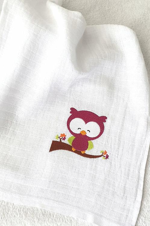 Hímzett textilpelenka - Ágon ülő bagoly (pink)